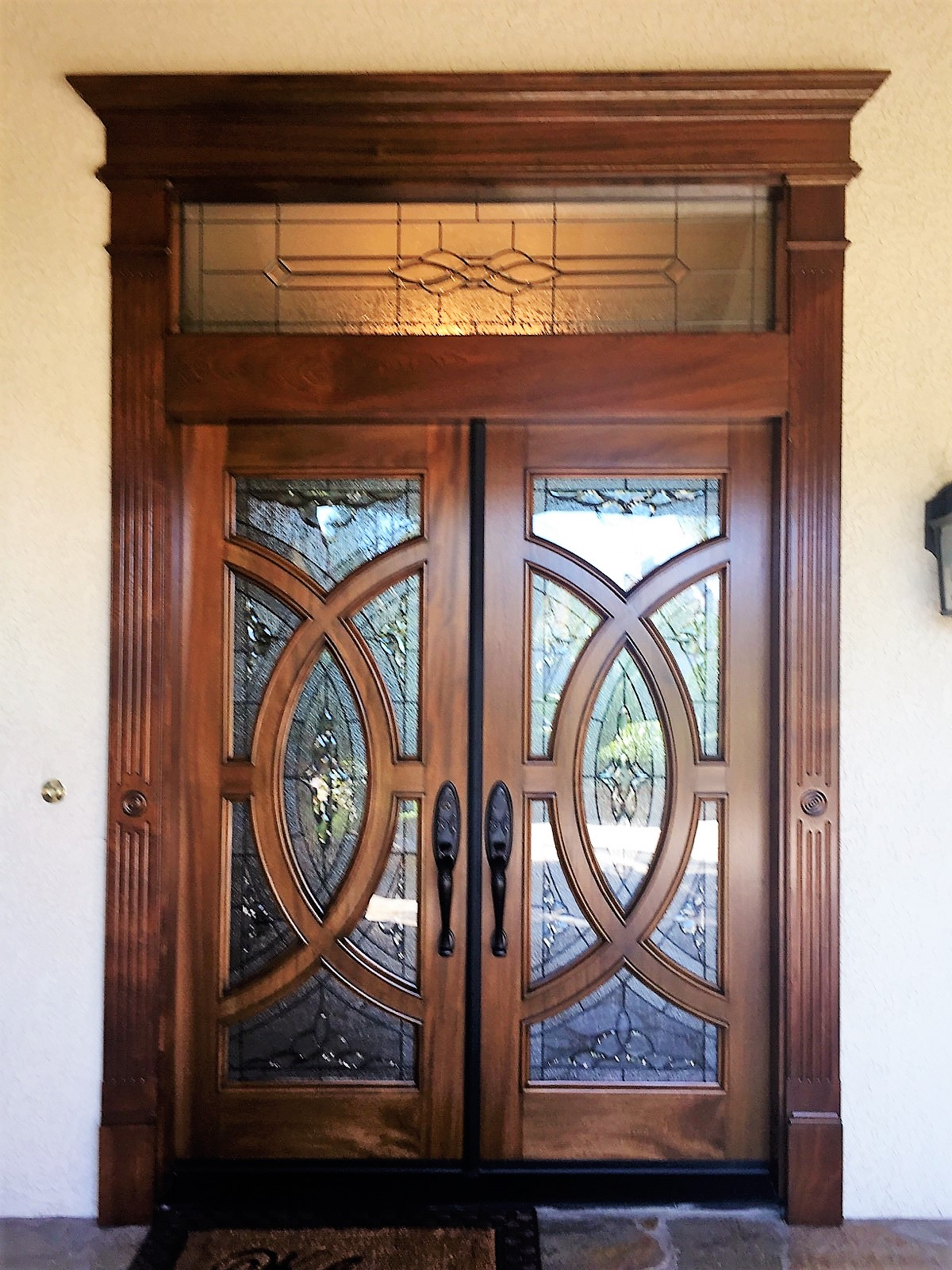 Mahogany Entry Door Unit With Custom Transom And Custom Made Trim